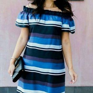 BANANA REPUBLIC Silk Striped Off Shoulder Dress